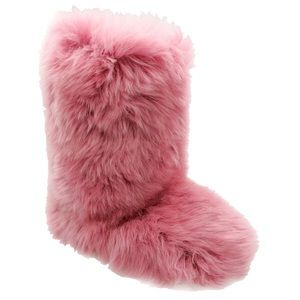 Pink fuzzy Ugg snow boots